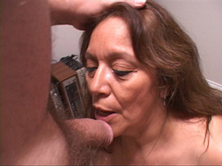 Lustful latina granny swallows hairy cock passionately - Picture 1
