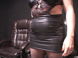 Slutty fat Mexican old cunt in latex skirt gets ready - Picture 2