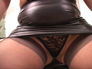 Slutty fat Mexican old cunt in latex skirt gets ready - Picture 4