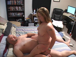 Chubby blonde bitch enjoys riding a long dong - Picture 1