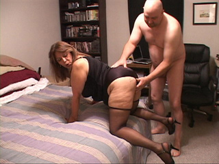 Bald dude drilling hard fat Mexican bitch in stockings - Picture 1