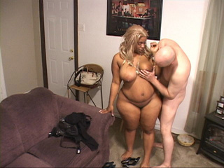 Ebony BBW with huge tits gets naked and blows man's meat - Picture 2