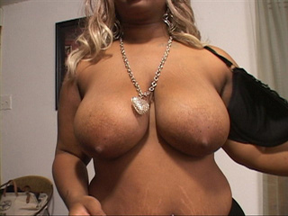 Ebony BBW with huge tits gets naked and blows man's meat - Picture 3
