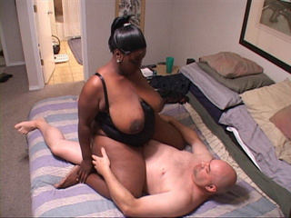 Black slutty MIL with a chubby ass and big tits riding - Picture 1