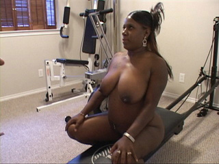 Big black bitch in jeans shorts gets naked preparing for - Picture 4