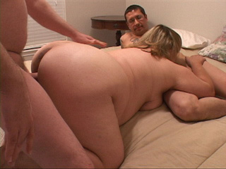 Blonde milf fatty gets handled by two horny dudes - Picture 2