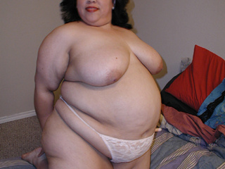 Huge brunette fatso in a white lace panties shows off - Picture 4