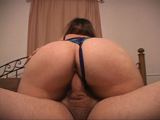 Chubby bitch in a blue thong enjoys jumping on a man's - Picture 1