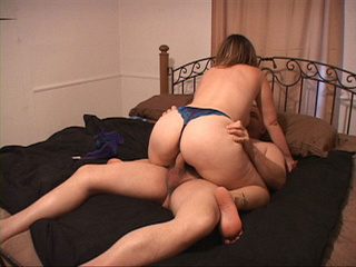 Chubby bitch in a blue thong enjoys jumping on a man's - Picture 2