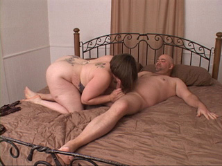 Chubby bitch in a blue thong enjoys jumping on a man's - Picture 4
