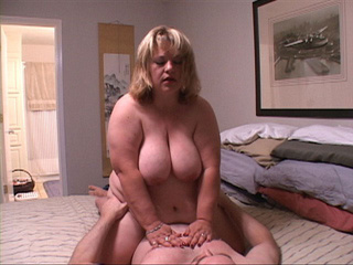 Big blonde bitch in a red sexy lingerie gets doggystyled - Picture 1