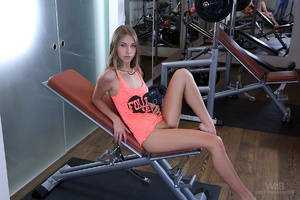 Slim fair teen in an orange vest spreads - XXX Dessert - Picture 2