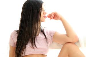 Brunette teen posing in socks - XXX Dessert - Picture 3