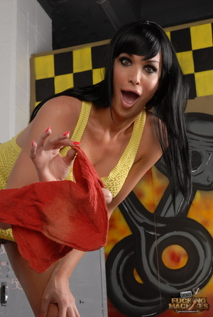 Lovely shemale in a yellow dress enjoys getting her pooper drilled hard - XXXonXXX - Pic 1