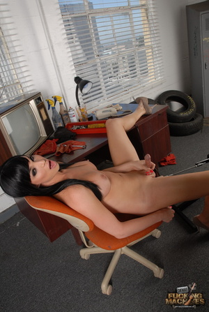 Lovely shemale in a yellow dress enjoys getting her pooper drilled hard - XXXonXXX - Pic 12