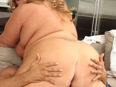Tattooed plump ladyboss makes her employee fuck her - Picture 14