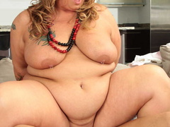 Tattooed plump ladyboss makes her employee fuck her - Picture 15