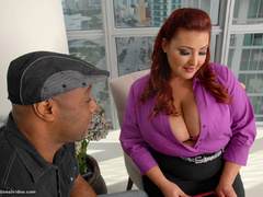 Red fat bitch in fishnet stockings fucking with black - Picture 9