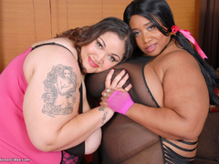Black and white fatties in sexy lingerie playing lesbian - Picture 3