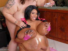 Black and white fatties in sexy lingerie playing lesbian - Picture 14