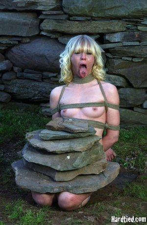 Tattooed blonde tied hard for bad painfu - XXX Dessert - Picture 8