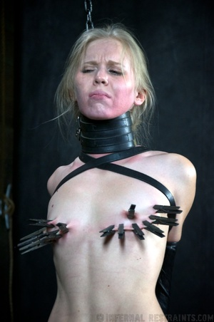 Tattooed blonde tied hard for bad painfu - XXX Dessert - Picture 13