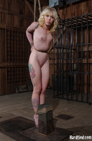 Tattooed blonde tied hard for bad painfu - XXX Dessert - Picture 14