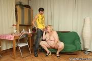 fat blonde mature seduces