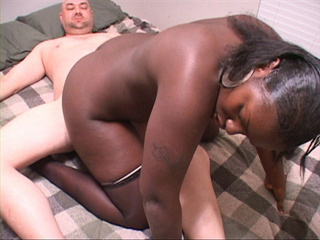 Naughty black vixen in stockings likes riding white - Picture 4