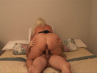 Fat ass blonde bitch riding passionately bald guy's dick - Picture 1