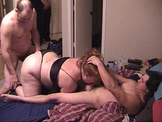 Fat granny gets her ass and mouth busy with two boners - Picture 2