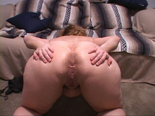 Curly fair fatso shows off her gaping pooper - Picture 2