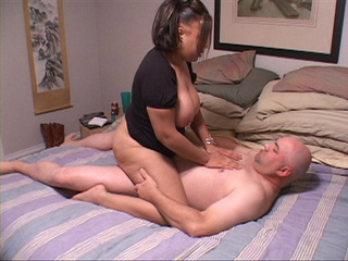 Ponytailed latina fatty riding dick with her tits out - Picture 1