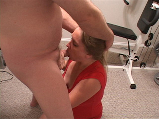 Blonde MILF in red gives head - Picture 1