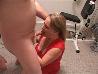 Blonde MILF in red gives head - Picture 3
