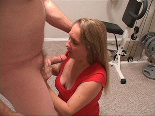 Blonde MILF in red gives head - Picture 4