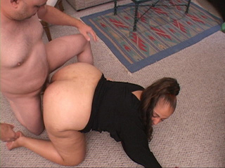 Lustful latina MILF in black blouse gets ass doggystyled - Picture 1