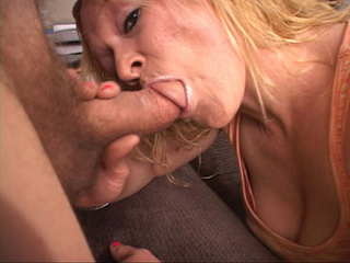 Blonde mom in a pink panties gives head before anal sex - Picture 1