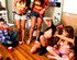 Two absolutely drunk student girls kissing in the…