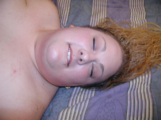 Ponytailed fat bitch swallows black boner - Picture 1