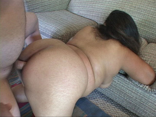 Curly latina with fat butt gagging with cock - Picture 4