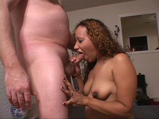 Curly ebony BBW sucking dick before ass penetration - Picture 1