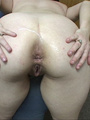 Curvy mom in blur panties giving head - Picture 4