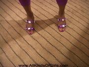 ponytailed ebony mama purple