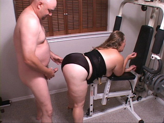 Plump blonde mom in black lingerie doggystyled at the - Picture 4