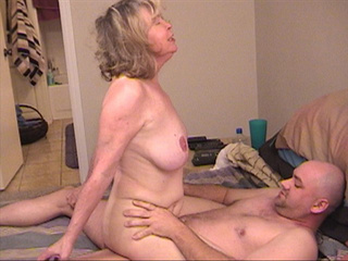 Blonde grandma assfucked with her legs lift up - Picture 1