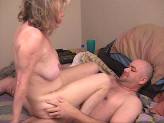 Old slut with blonde hair jumps on stiff rod - Picture 2