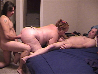 Ponytailed granny in black panties sucks cock - Picture 1