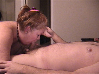 Ponytailed granny in black panties sucks cock - Picture 3