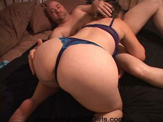 Chubby bitch in blue lingerie riding dick - Picture 4